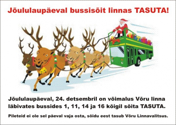 Võru pakub jõululaupäeval tasuta bussisõitu
