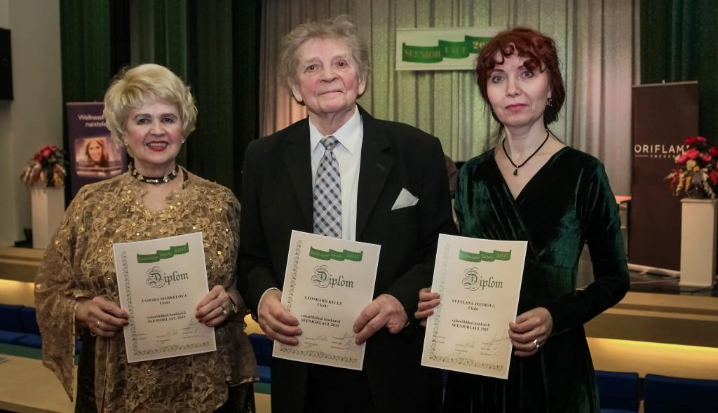 Seeniorlaul 2015. Võitjad Tamara Merkulova,Leonhard Kelle, Svetlana Jefimova, foto Ants Liigus