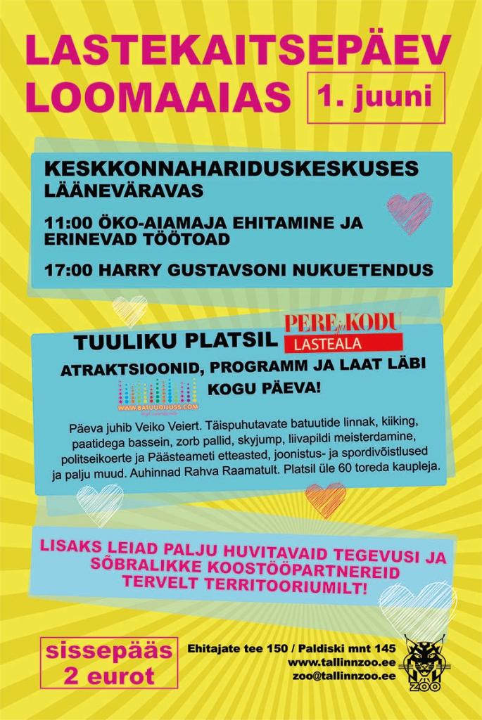 Tallinna Loomaaed ootab lastekaitsepäeval, 1. juunil külla!