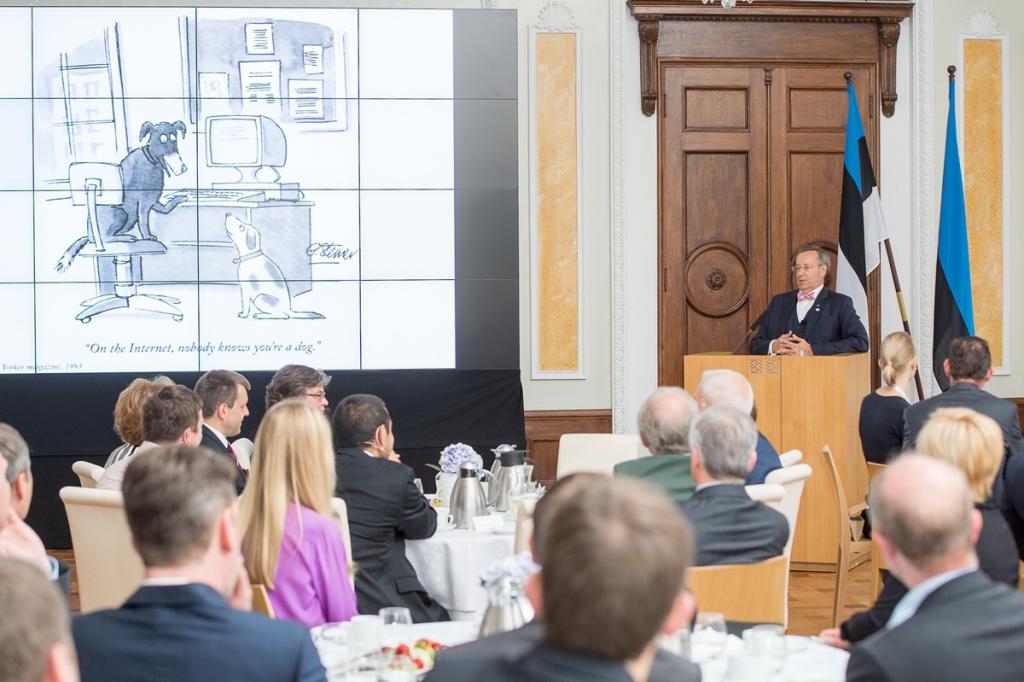 President Toomas Hendrik Ilvese avakõne Eesti sõprade rahvusvahelise kokkutuleku sümpoosionil Foto: Raigo Pajula