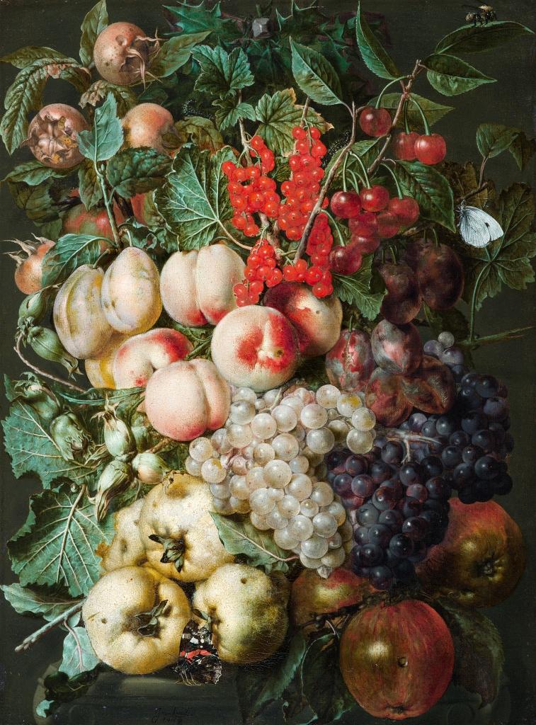 """""""Viinamarjad, Virsikud, Metspähklid Ja Sõstrad Lapsuliblika Ja Mesilasega"""" Jan van Kessel Antwerpen u 1620 – Amsterdam u 1661"""