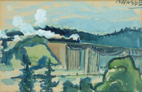 """Ado Vabbe """"Maastik raudteesillaga"""", 1912 – 13, akvarell"""