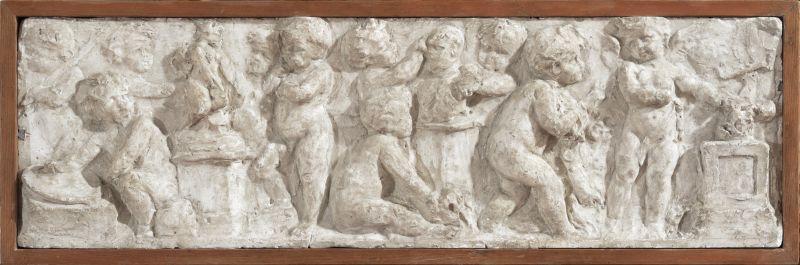 Amandus Adamson Dekoratiivne reljeef putodega (skulptuuri allegoor 1880-1890. kipsvaland kastitaolises puitraamis 18 x 60 cm