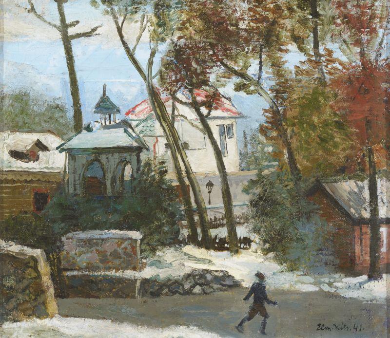 Elmar Kits Talvine linnavaade uisutajaga 1941. õli, lõuend 38 x 43.5 cm