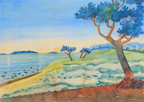 Paul Liivak. Rannamaastik 1928. akvarell vm 49.5 x 70 cm (raamitud)