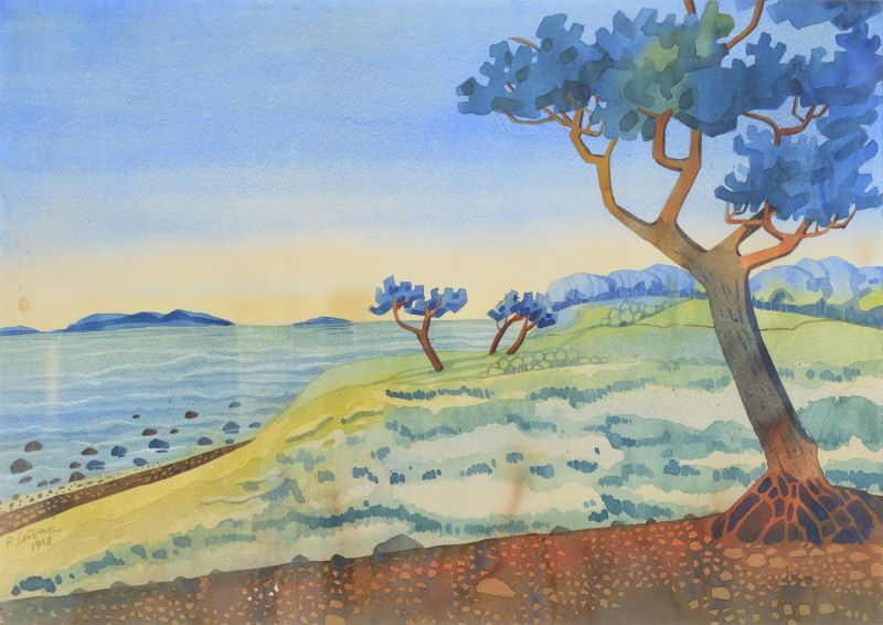 Paul Liivak Rannamaastik 1928.  akvarell vm 49.5 x 70 cm