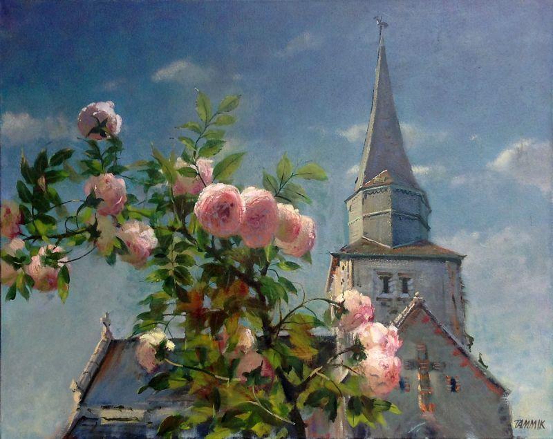Rein Tammik Kirik roosidega 2012.  õli, lõuend 80 x 100 cm