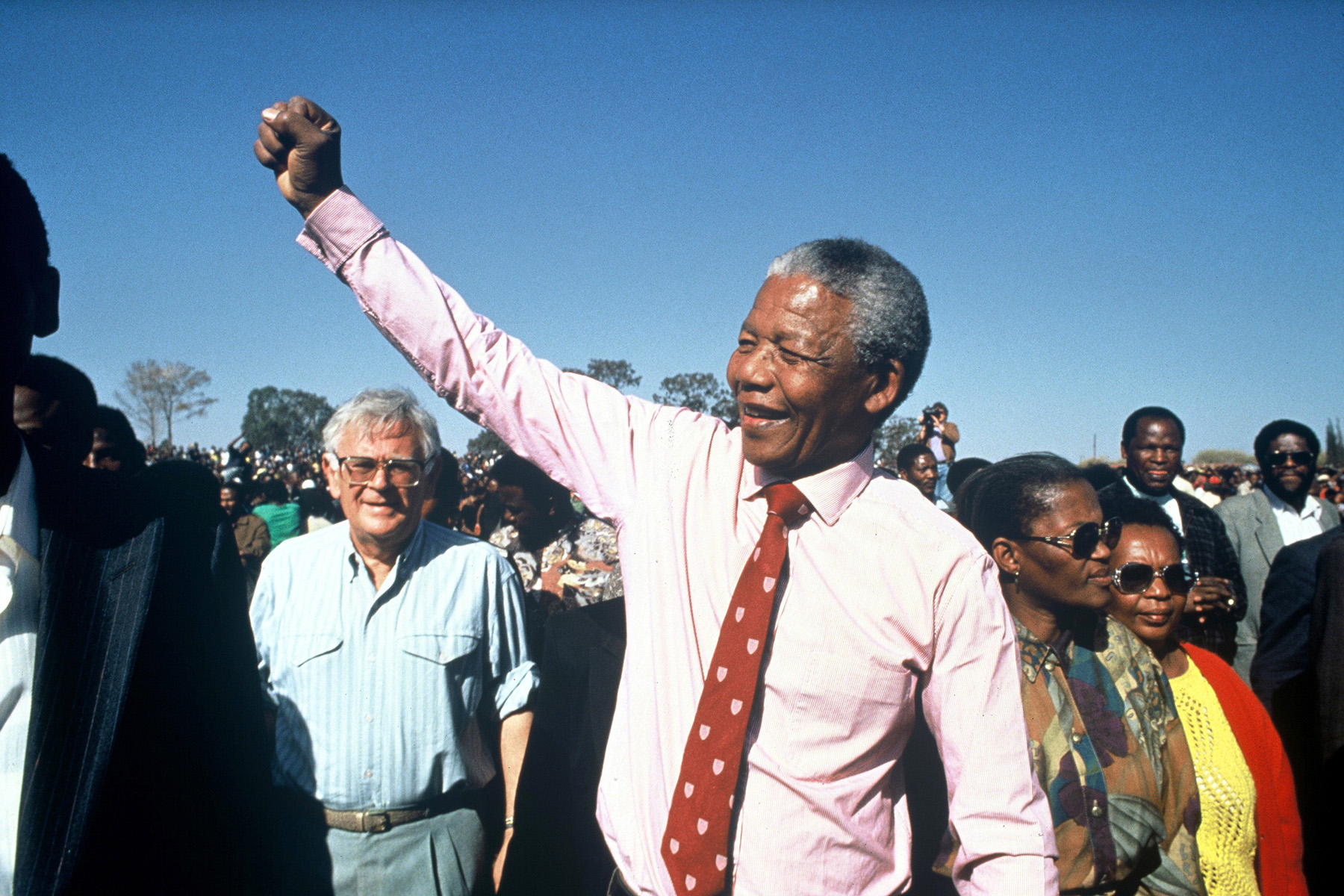 South Africa : Nelson Mandela in Boipatong Township near Johannesburg