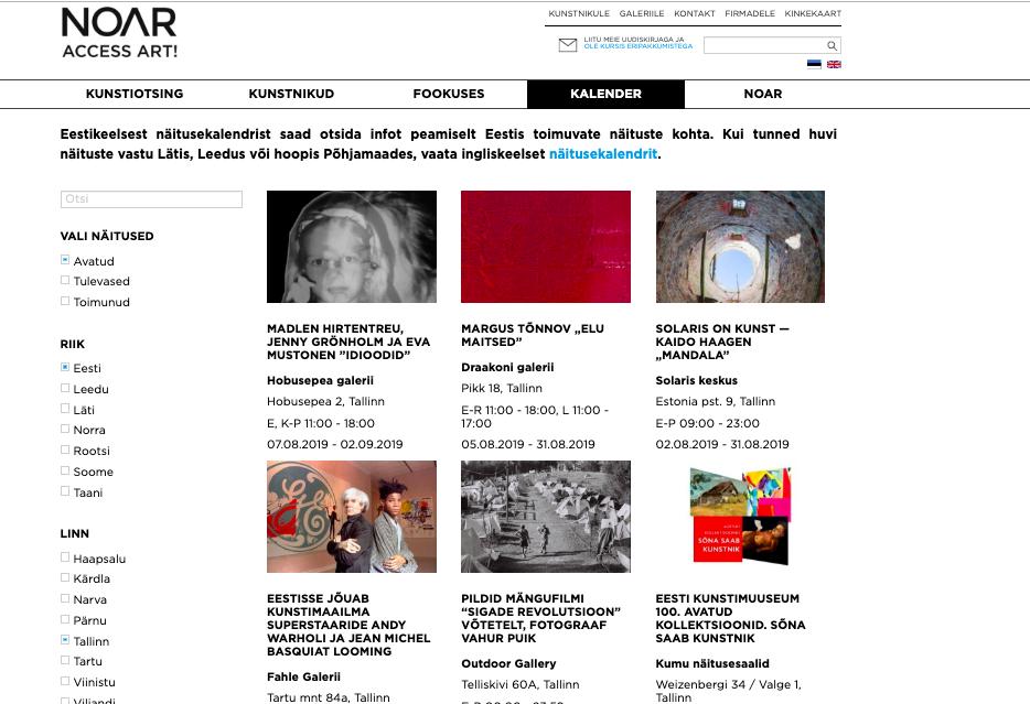 Näitusekalender netis koondab kokku Põhjamaade ja Baltikumi kunstisündmused