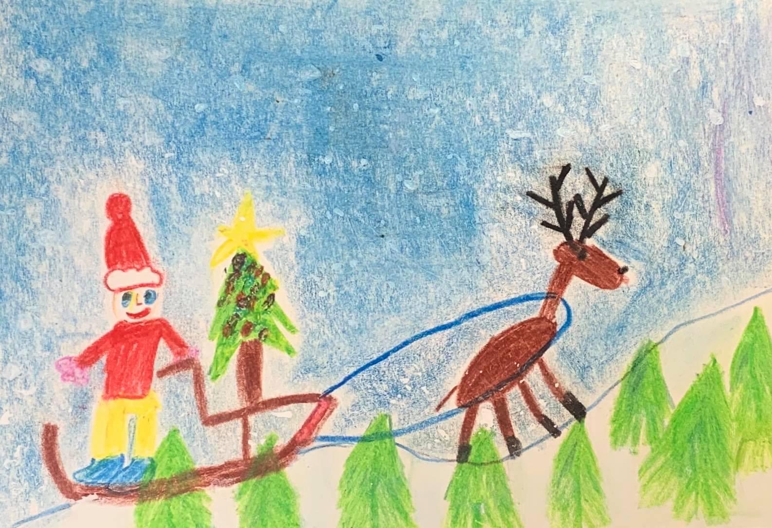 Mustamäe tänavuse jõulukaardi autor on Ruslan Sõtdõkov lasteaiast Delfiin