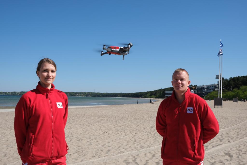 DROON RANNAS I G4S rannavalve jälgib suplejate ohutust drooniga