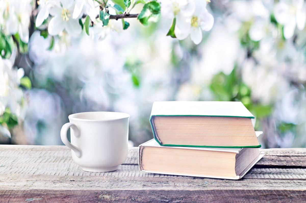Cup,Hot,Coffee,Or,Tea,,Cocoa,,Chocolate,And,Book,Outdoors